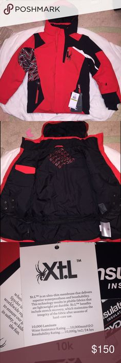 BRAND NEW (NWT) Spyder Coat Brand new never worn Spyder jacket sz boys 14 purchased for my step son but was too small. Volcanic style with multiple zippers and pockets. Thinsulate- great for skiing. Thumb holes for extra hand warmth. VERY nice coat, needs a nice home! Spyder Jackets & Coats