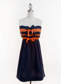 Navy & Orange Ribbon Game Day Dress