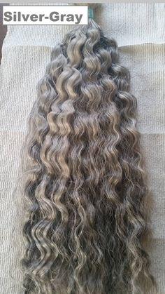 22' inch Silver Gray Wavy Hair Bulk Braiding Extensions 4oz Long Crochet Braids, Curly Crochet Hair Styles, Overnight Braids, Curly Hair Overnight, Overnight Waves, Track Hairstyles, Braided Hairstyles, Natural Hair Cuts, Natural Hair Styles