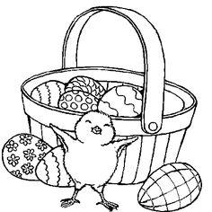 Dessin panier de pâques a colorier