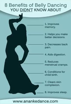 Benefits of belly dance. I must say that now that dance has been absent from my normal routine for some time now, I noticed a number of these items are now issues. Now that I'm adding dance back in to my life, I'll be curious to see what improves!