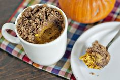{2 minute} Pumpkin Coffee Cake in a Mug | http://www.heatherlikesfood.com/2-minute-pumpkin-coffee-cake-in-a-mug/