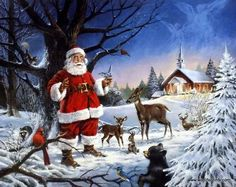 The angels are looking down on Santa Claus, right outside the church, watching him doing good deeds for all of the animals who are out to see him. This print is signed and numbered with a certificate