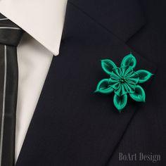 Lapel Pin/Emerald Green Kanzashi Flower Lapel Pin/ Swarovski Emerald Crystal/Lapel Flower/Men Lapel Flower /Wedding Accessories/Holiday Pin
