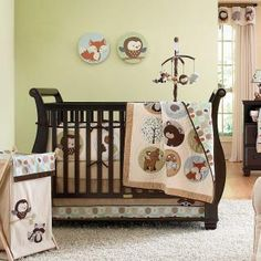 neutral baby room | Forest Animal Gender Neutral Baby Nursery 4pc Crib Bedding Set w/ Owl ...