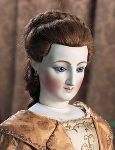 """Extremely rare 26"""" French bisque poupée deposed by A. Leverd et Cie for his recessed cutout in the scalp for realistic wig placement, circa 1869, made for only one or two years. Mark on head is 8 Bte SGDG. Bte SGDG is an abbreviation of """"Breveté Sans Garantie du Gouvernement,"""" which means """"Patented No Government Warranty."""""""