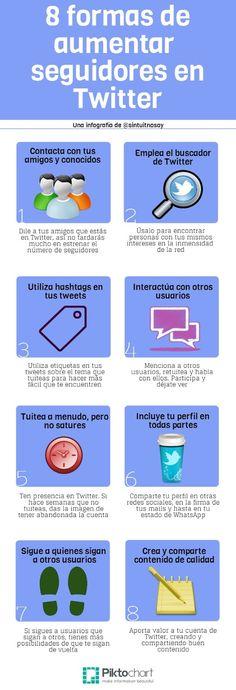 8 formas de aumentar seguidores en Twitter. Infografía en español. #CommunityManager
