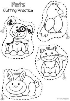 Cutting Practice Worksheets - Ocean Animals, Pirates, Pets by Fairy Poppins Preschool Cutting Practice, Cutting Activities, Preschool Learning Activities, Free Preschool, Preschool Lessons, Preschool Worksheets, Toddler Activities, Preschool Activities, Pet Theme Preschool