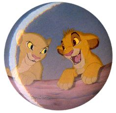 "NEW Disney LION KING Young SIMBA & NALA FRIENDS  1 1/4"" Button Pin Lanyard Charm #Disney"