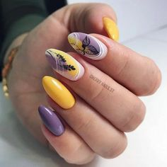 55 Best Floral Nail Art Designs 2020 - Page 45 of 55 - TipSilo Yellow Nail Art, Floral Nail Art, Yellow Nails Design, Cute Nails, Pretty Nails, Nailart, Short Nails Art, Summer Acrylic Nails, Mermaid Nails