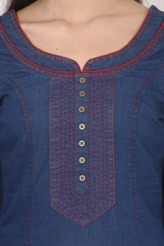 Neck Designs to Try with Plain Kurtis - Indian Fashion Ideas Salwar Suit Neck Designs, Neck Designs For Suits, Kurta Neck Design, Neckline Designs, Kurta Designs Women, Blouse Neck Designs, Kurti Embroidery Design, Embroidery Neck Designs, Tunic Designs