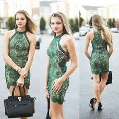 Green lace holiday dress #swoonboutique