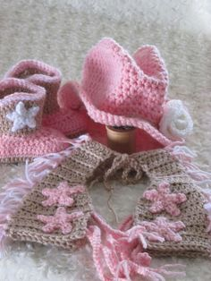 Cowgirl Hat, Boots, Chaps, and Diaper Cover Set, Crochet, Pink, Tan, White,Crochet Rose, Newborn, Infant, Baby, Photo Prop,HannahsHomestead2...