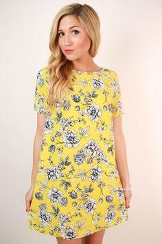 Honeybee Floral Shift Dress in Yellow