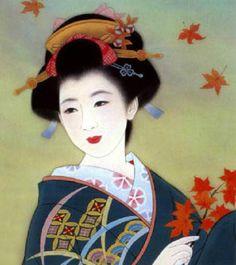 autumn geisha cross stitch pattern