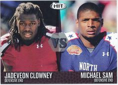 Jadeveon Clowney & Michael Sam (Rookie) Houston Texans & (Free Agent) 2014 Sage Hit Versus Insert (Brown Parallel) card #VS3