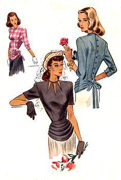1940s Draped Peplum Blouse Pattern - McCall 6948 - Neck Cut Out - Three Sleeve Lengths