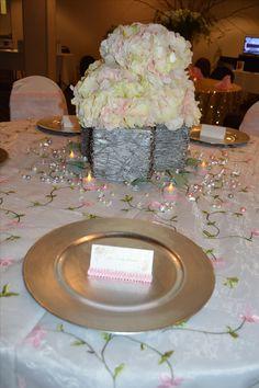 pale pink and silver centerpiece, twigs, diamonds, glitter