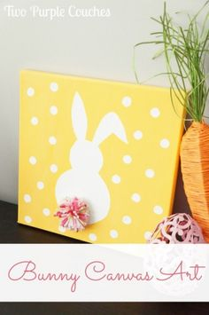 Adorably Easy Easter Bunny Canvas Art! Get the tutorial on how to make this simple DIY Easter craft. A perfect craft idea to make with the kids!