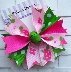 Boutique M2MG Pink Turtles Spike Hair Bow