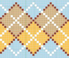 Argyle stitch each point with gap of one at each point--allows for edge Tapestry Crochet Patterns, Fair Isle Knitting Patterns, Bead Loom Patterns, Knitting Charts, Embroidery Patterns, Cross Stitch Patterns, Pixel Crochet, Crochet Chart, Crochet Motif