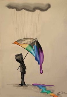 Walking in The Rain Melted crayon art is a great afternoon project both for kids… Pencil Drawings Tumblr, Easy Drawings, Drawing Sketches, Meaningful Drawings, Sad Art, Crayon Art, Rainbow Art, Art Tutorials, Cool Art