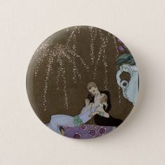 Art Deco Couple Kissing Pinback Button - valentines day gifts love couple diy personalize for her for him girlfriend boyfriend