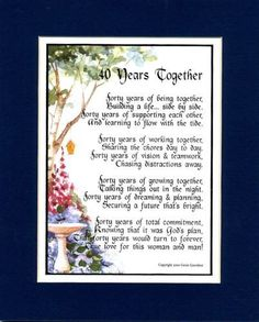 A Gift For A 40th Wedding Anniversary, #118, Double-matted 8x10 Poem, in Navy/white and Enhanced with Watercolor Graphics.