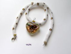 Crocheted necklace with lampwork white and purple heart by DKHM