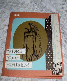 Handmade Masculine 'Golf Themed' Birthday Card in  by rettajane, $5.00