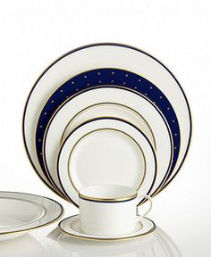"""kate spade new york """"Library Lane"""" Navy Dinnerware Collection - Fine China - Dining & Entertaining - Macy's"""