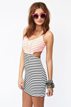 Cut out striped dress