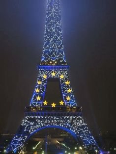 Paris - Eiffel Tower lights marking the six-month presidency of the European Union in 2008