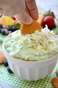 If you love dessert dips, this Pistachio Pineapple Dip is for you! It's a deliciously sweet, creamy dip made with just 5 ingredients. Perfect for dipping cookies, fruit, or whatever your heart desires! Pineapple Dip, Crushed Pineapple, Pineapple Ideas, Tapenade, Doritos, Dessert Dips, Dessert Recipes, Fruit Recipes, Dip Recetas