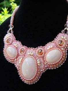 Sweet peach and pearl.  Bead Embroidery by Stephanie Bancroft