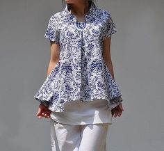 Summer shirts /standup collar linen pleated shirt by MaLieb, $58.00