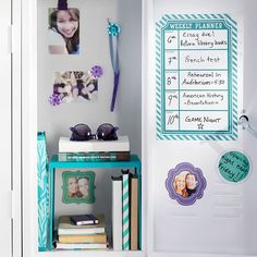 Teal With Sideaways Stripe Magnetic Calendar