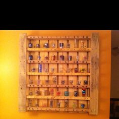Repurposed pallet= shot glass collection shelf!!!