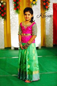 Kids Indian Wear, Kids Ethnic Wear, Kids Frocks, Frocks For Girls, Kids Blouse Designs, Kids Dress Wear, Long Gown Dress, Baby Dress Design, Kids Lehenga