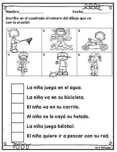Spanish reading comprehension activities for beginners Distance Learning Packet Spanish Classroom Activities, Spanish Teaching Resources, Bilingual Classroom, Kindergarten Math Worksheets, Bilingual Education, Spanish Language Learning, Reading Resources, Reading Skills, Preschool Math