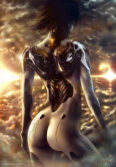 Angst. # cyberpunk, robot girl, cyborg, futuristic, android, sci-fi, science fiction, cyber girl, digital art