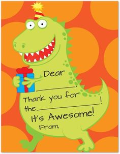 Save $3.00 on Cute Lovely Dinosaur Gift Kids Fill-in Birthday Thank You Cards; only $5.95