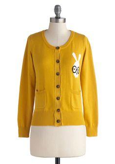 A Little Bit Bunny Cardigan in Mustard | Mod Retro Vintage Sweaters | ModCloth.com