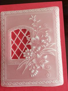 This card is handmade using parchment craft techniques. Floral and lacy design, lots of embossing and cut work. Can be personalised . Embellishments may vary 123 Cards, Parchment Design, Parchment Cards, Butterfly Template, Newspaper Crafts, Embossed Cards, Machine Embroidery Designs, Paper Art, Card Making