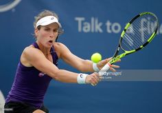 Johanna Konta of Great Britain hits a return in her second match against Donna…