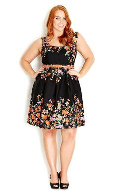 City Chic - BOTANICAL BORDER DRESS - Women s plus size fashion  citychic   citychiconline   79d1631ac2b