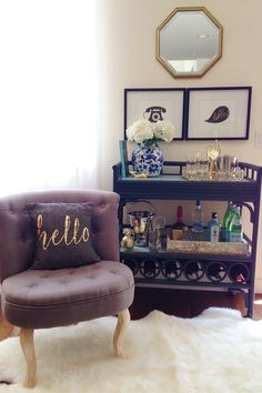 This bar cart is loaded with great bar cart essentials from HomeGoods! Even on the bar cart I love displaying in trays keeping it all organized. Sponsored by HomeGoods Diy Bar Cart, Gold Bar Cart, Bar Cart Decor, Bar Carts, Bar Cart Essentials, Metal Tree Wall Art, Bar Furniture, Furniture Cleaning, Kitchen Furniture