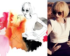 Mekelo, illustrator, fashion illustration, colourful, watercolour, model