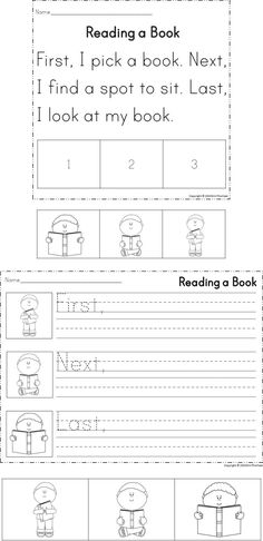 Students will sequence stories using the words first, next, and last.  Includes three activities for differentiation.