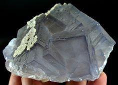 379 Grm Top Quality Light Blue Color & Color Change Fluorite Specimen W/ Calcite
